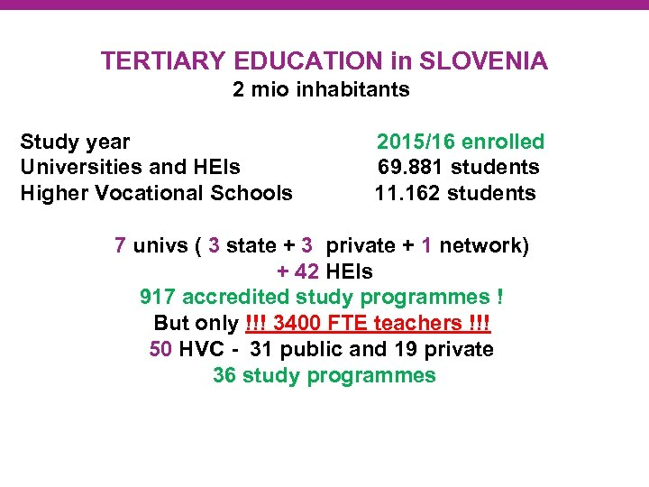 TERTIARY EDUCATION in SLOVENIA 2 mio inhabitants Study year 2015/16 enrolled Universities and HEIs