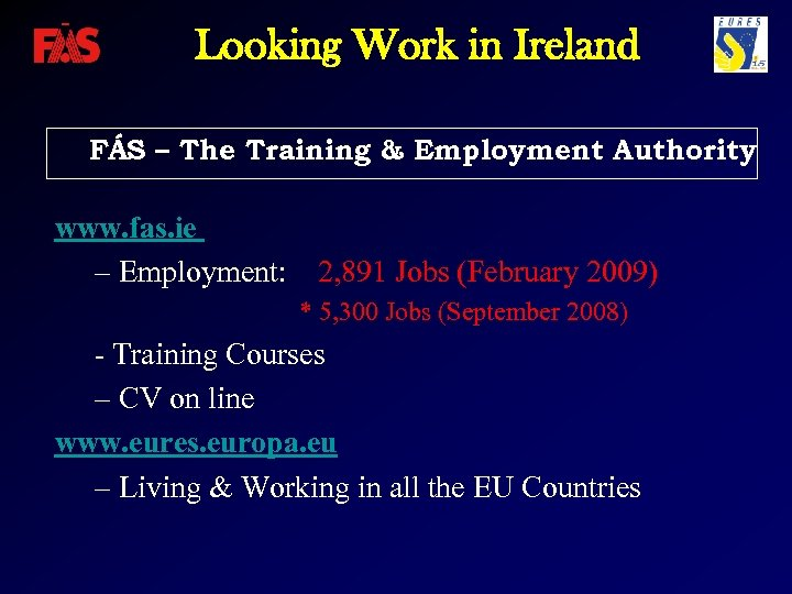 Looking Work in Ireland FÁS – The Training & Employment Authority www. fas. ie