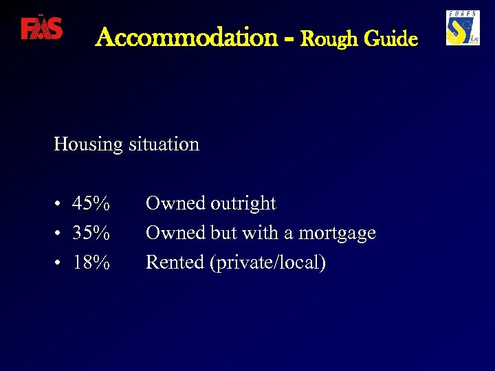 Accommodation - Rough Guide Housing situation • 45% • 35% • 18% Owned outright