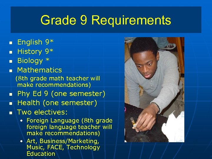 Grade 9 Requirements n n English 9* History 9* Biology * Mathematics (8 th