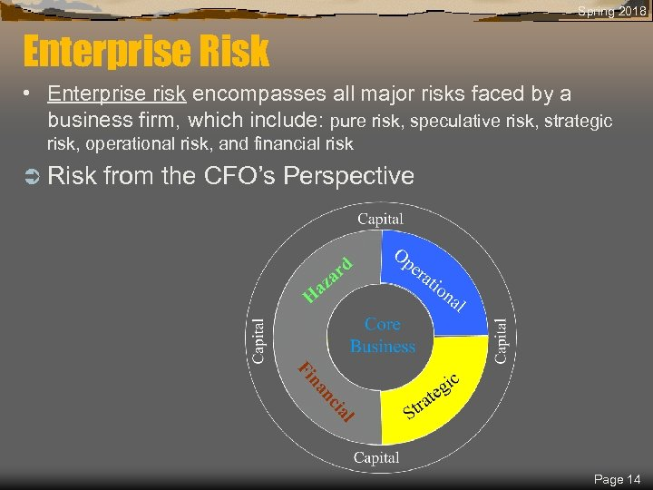 Spring 2018 Enterprise Risk • Enterprise risk encompasses all major risks faced by a