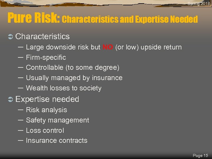 Spring 2018 Pure Risk: Characteristics and Expertise Needed Ü Characteristics – Large downside risk