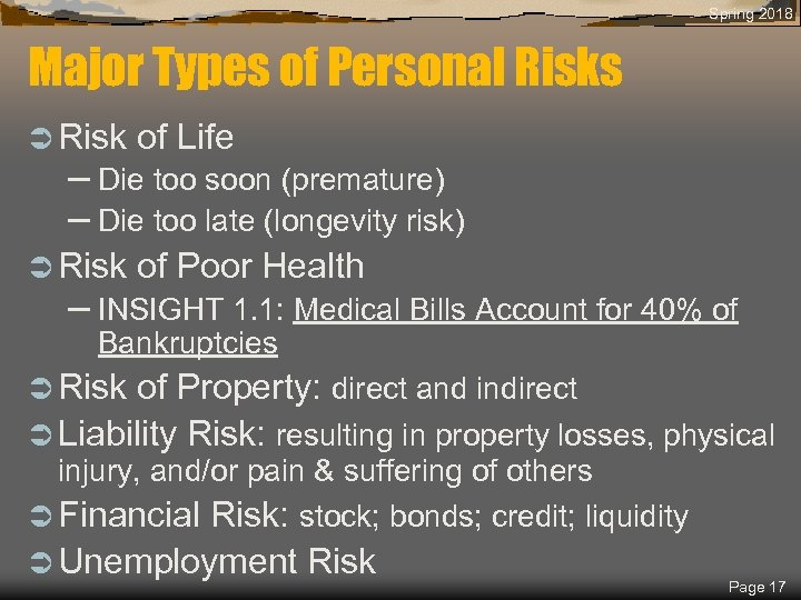 Spring 2018 Major Types of Personal Risks Ü Risk of Life Ü Risk of