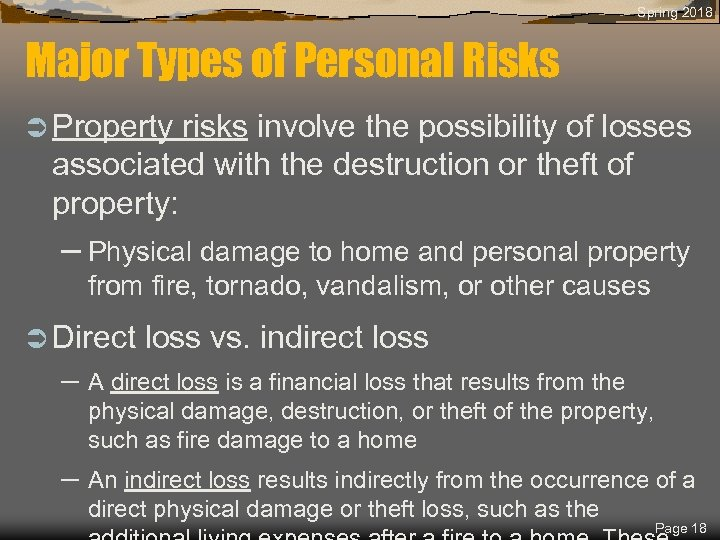 Spring 2018 Major Types of Personal Risks Ü Property risks involve the possibility of