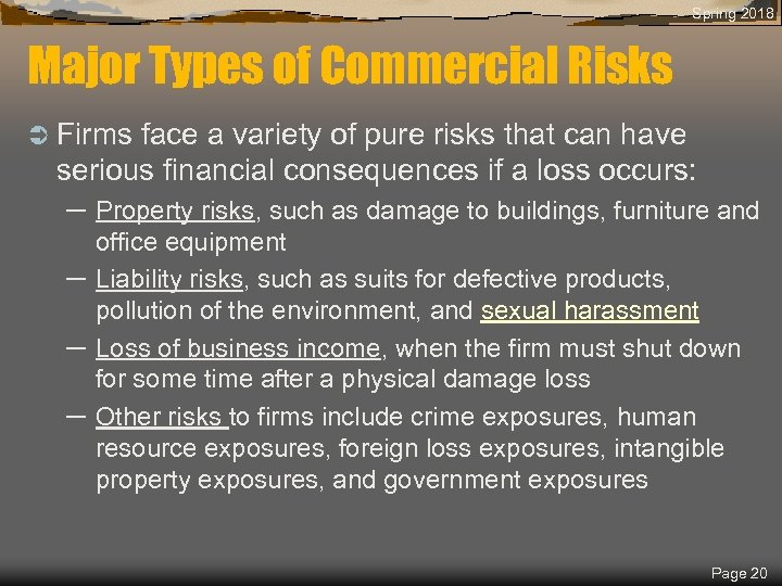 Spring 2018 Major Types of Commercial Risks Ü Firms face a variety of pure