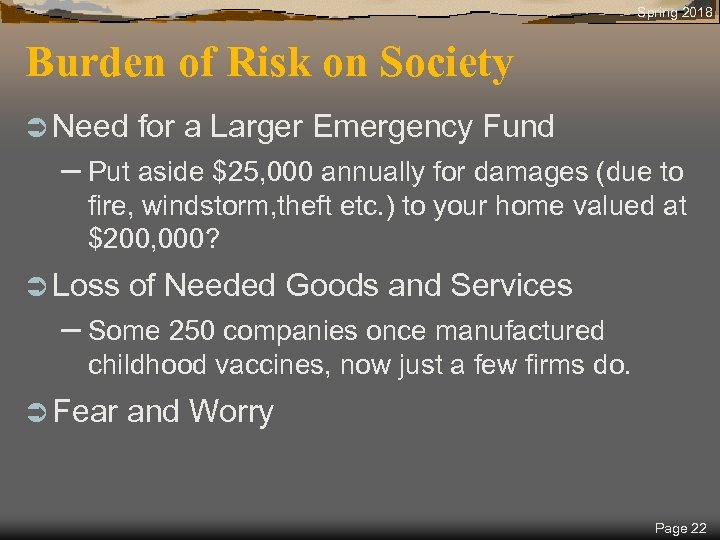 Spring 2018 Burden of Risk on Society Ü Need for a Larger Emergency Fund