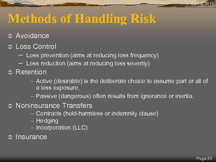 Spring 2018 Methods of Handling Risk Avoidance Ü Loss Control Ü – – Ü