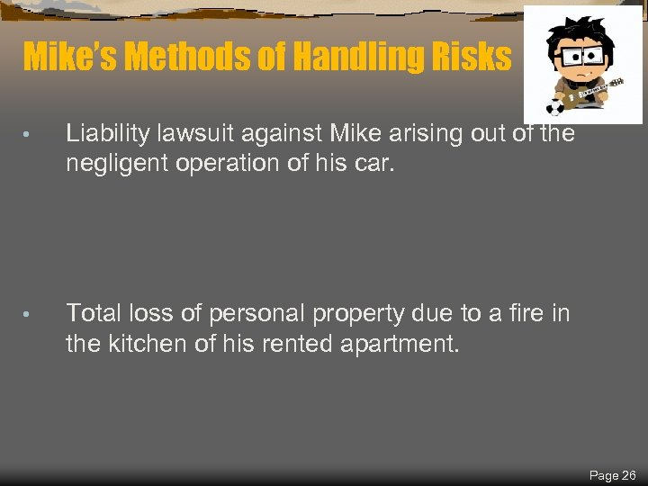 Spring 2018 Mike's Methods of Handling Risks • Liability lawsuit against Mike arising out
