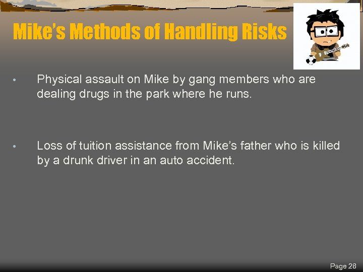 Spring 2018 Mike's Methods of Handling Risks • Physical assault on Mike by gang