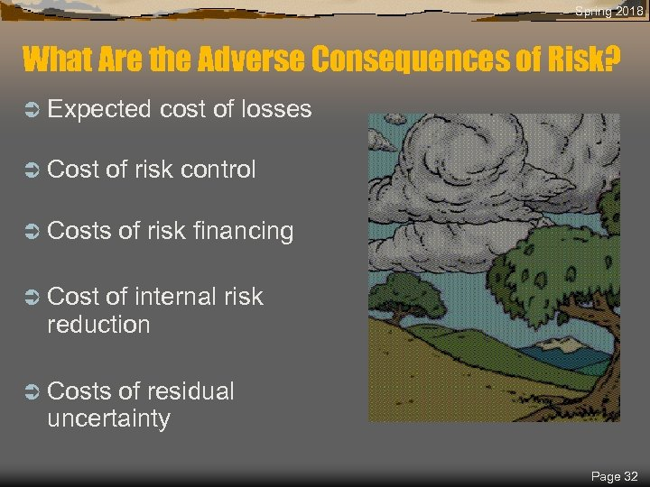 Spring 2018 What Are the Adverse Consequences of Risk? Ü Expected Ü Cost cost