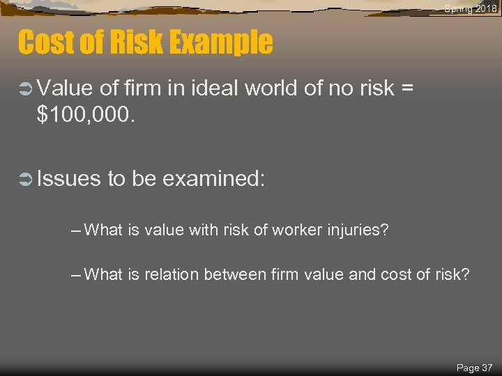 Spring 2018 Cost of Risk Example Ü Value of firm in ideal world of