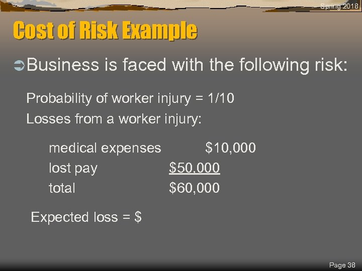 Spring 2018 Cost of Risk Example Ü Business is faced with the following risk: