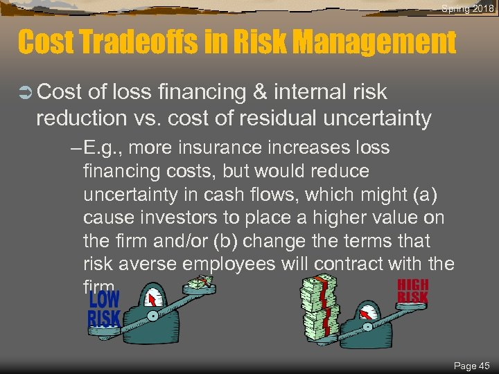 Spring 2018 Cost Tradeoffs in Risk Management Ü Cost of loss financing & internal