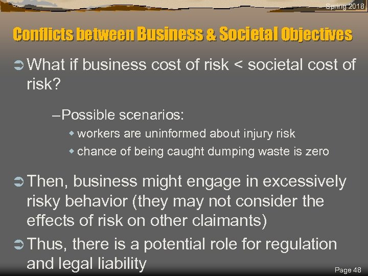 Spring 2018 Conflicts between Business & Societal Objectives Ü What if business cost of