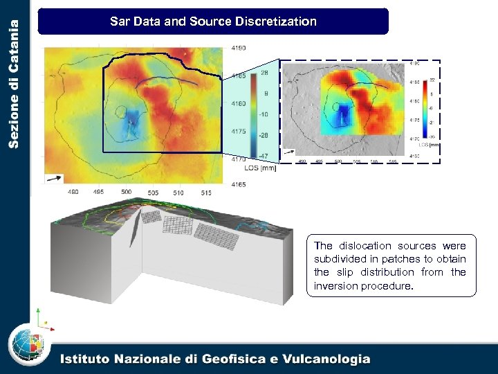 Sar Data and Source Discretization Line of sight change map calculated by the unwrapped