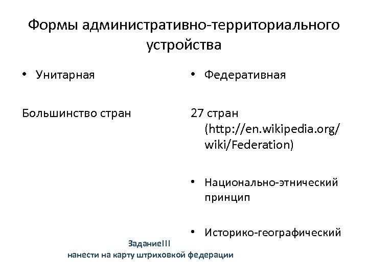 Формы административно-территориального устройства • Унитарная • Федеративная Большинство стран 27 стран (http: //en. wikipedia.
