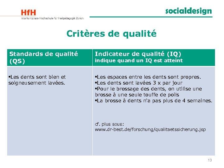 Critères de qualité Standards de qualité (QS) Indicateur de qualité (IQ) §Les dents sont