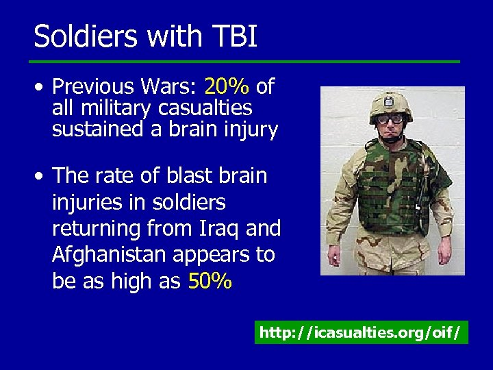 Soldiers with TBI • Previous Wars: 20% of all military casualties sustained a brain