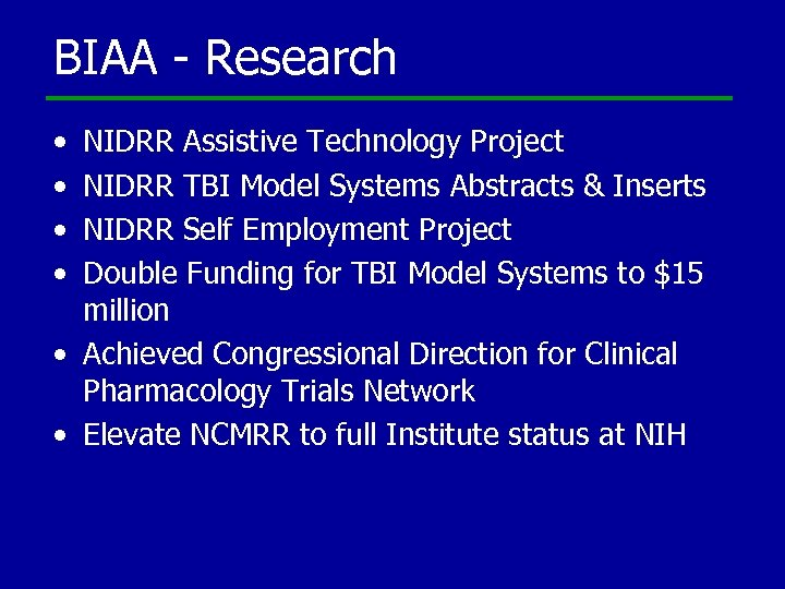 BIAA - Research • • NIDRR Assistive Technology Project NIDRR TBI Model Systems Abstracts
