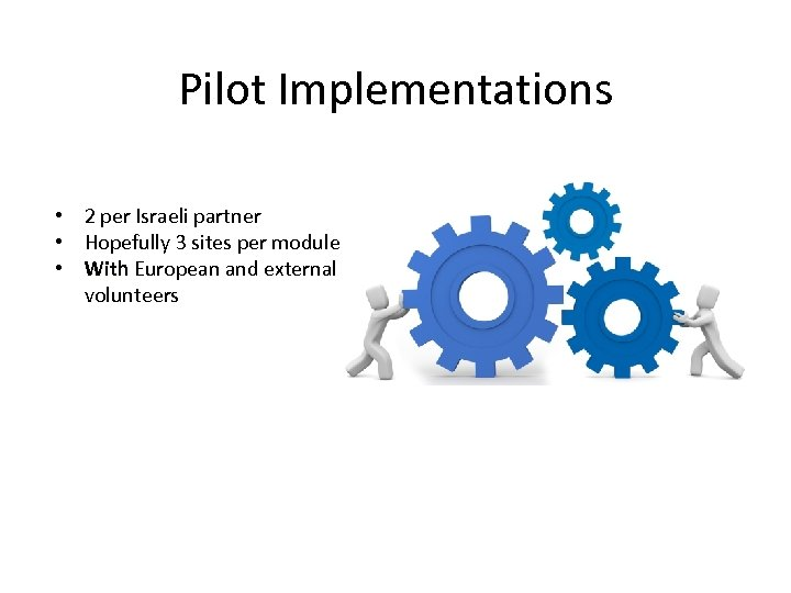 Pilot Implementations • 2 per Israeli partner • Hopefully 3 sites per module •