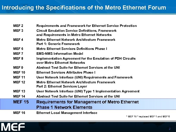 Introducing the Specifications of the Metro Ethernet Forum MEF 2 MEF 3 MEF 4
