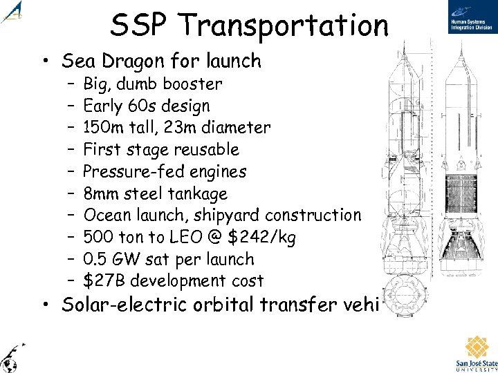SSP Transportation • Sea Dragon for launch – – – – – Big, dumb