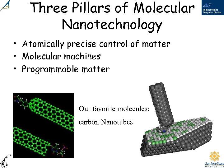 Three Pillars of Molecular Nanotechnology • Atomically precise control of matter • Molecular machines