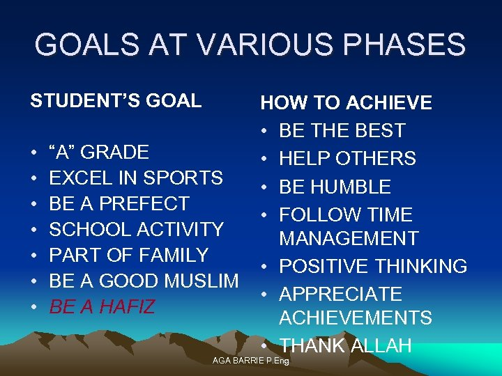 "GOALS AT VARIOUS PHASES STUDENT'S GOAL • • ""A"" GRADE EXCEL IN SPORTS BE"