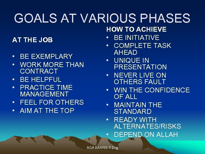 GOALS AT VARIOUS PHASES AT THE JOB • BE EXEMPLARY • WORK MORE THAN