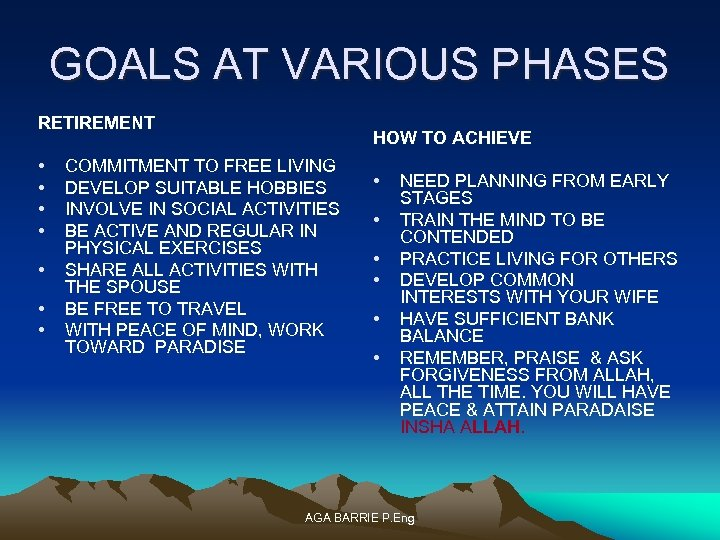 GOALS AT VARIOUS PHASES RETIREMENT • • HOW TO ACHIEVE COMMITMENT TO FREE LIVING