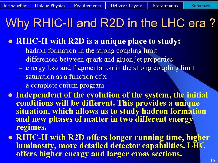 Introduction Unique Physics Requirements Detector Layout Performance Summary Why RHIC-II and R 2 D