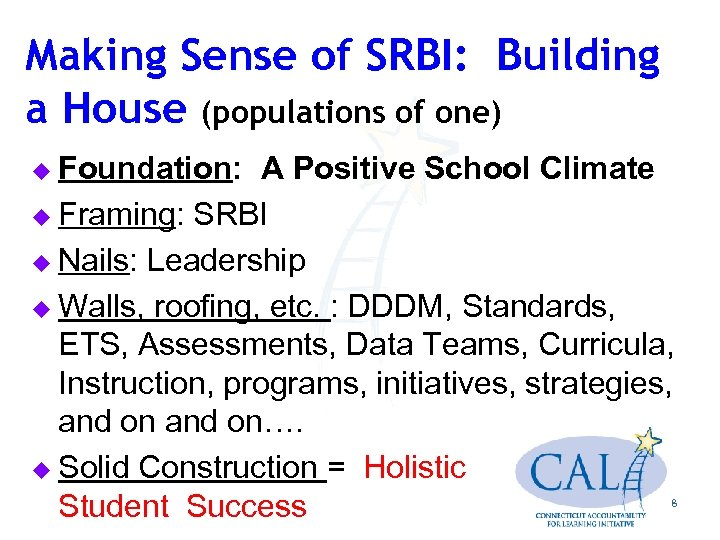 Making Sense of SRBI: Building a House (populations of one) u Foundation: A Positive