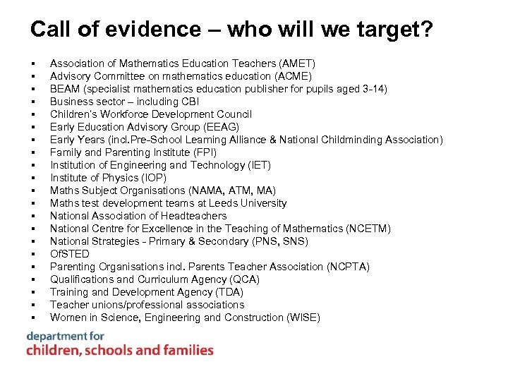 Call of evidence – who will we target? § § § § § §
