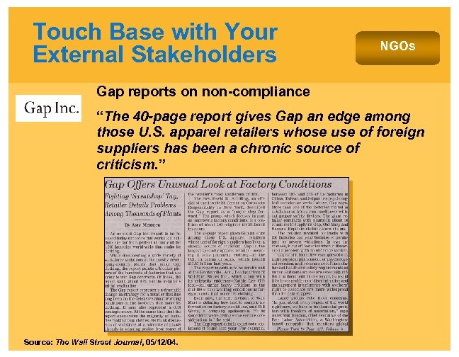 """Touch Base with Your External Stakeholders NGOs Gap reports on non-compliance """"The 40 -page"""