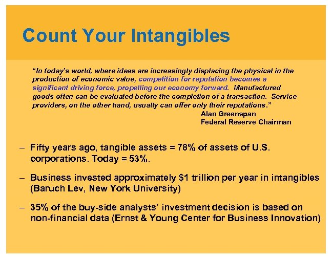 """Count Your Intangibles """"In today's world, where ideas are increasingly displacing the physical in"""