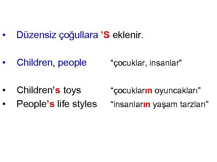 """• Düzensiz çoğullara 'S eklenir. • Children, people """"çocuklar, insanlar"""" • • Children's"""