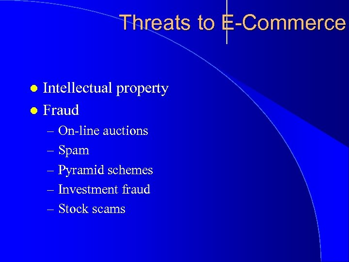 Threats to E-Commerce Intellectual property l Fraud l – On-line auctions – Spam –