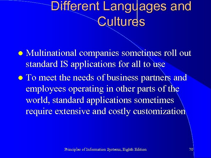 Different Languages and Cultures Multinational companies sometimes roll out standard IS applications for all
