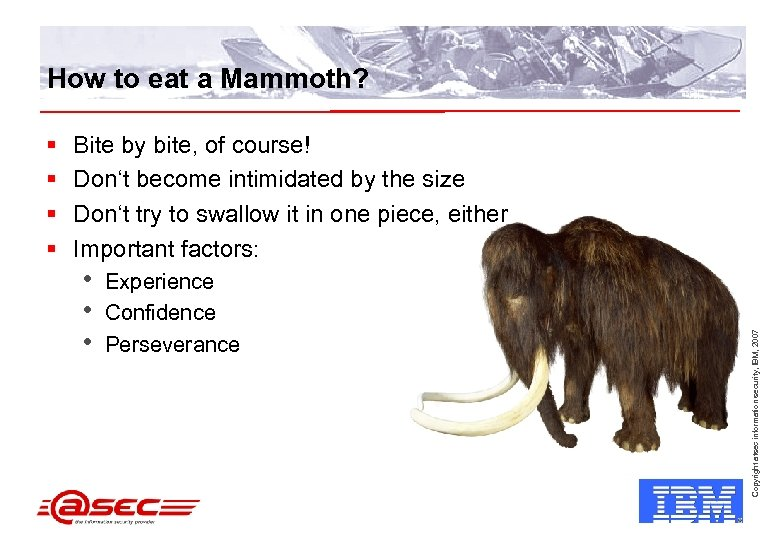 How to eat a Mammoth? Bite by bite, of course! Don't become intimidated by