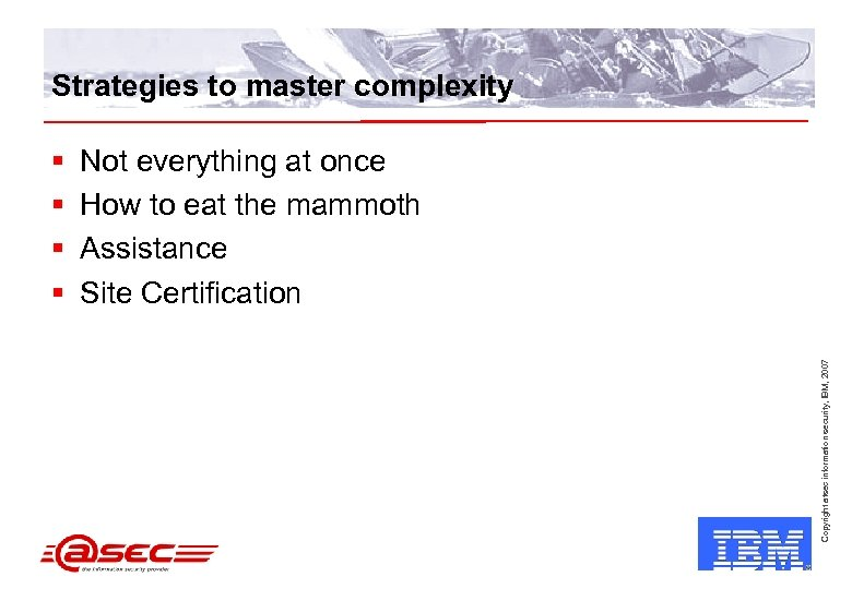Strategies to master complexity Not everything at once How to eat the mammoth Assistance