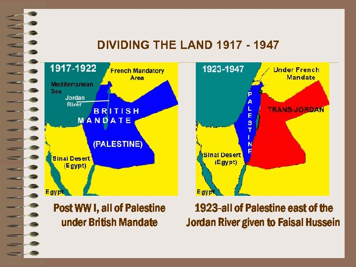 DIVIDING THE LAND 1917 - 1947 Post WW I, all of Palestine under British