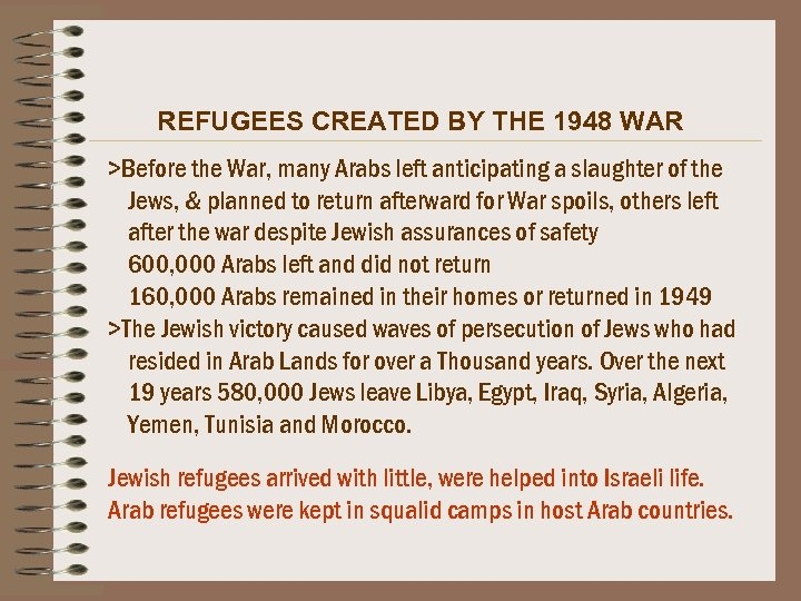 REFUGEES CREATED BY THE 1948 WAR >Before the War, many Arabs left anticipating a
