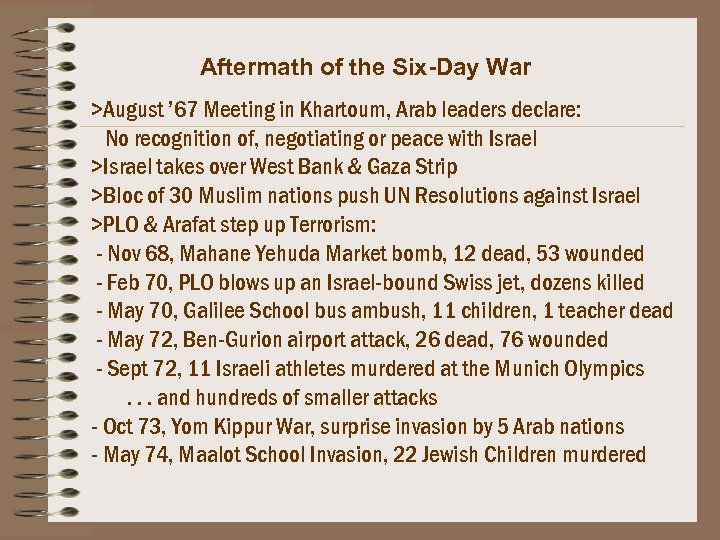 Aftermath of the Six-Day War >August ' 67 Meeting in Khartoum, Arab leaders declare: