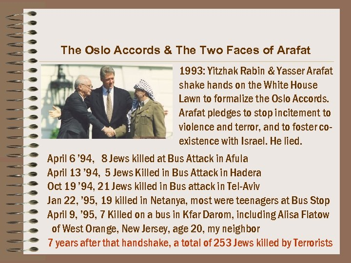 The Oslo Accords & The Two Faces of Arafat 1993: Yitzhak Rabin & Yasser