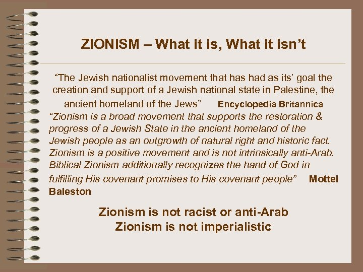 "ZIONISM – What it is, What it isn't ""The Jewish nationalist movement that has"
