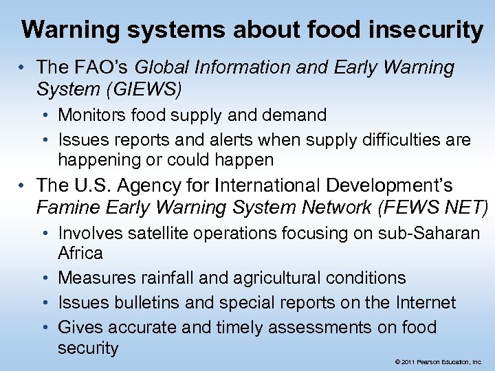 Warning systems about food insecurity • The FAO's Global Information and Early Warning System