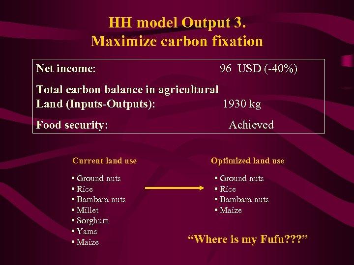 HH model Output 3. Maximize carbon fixation Net income: 96 USD (-40%) Total carbon