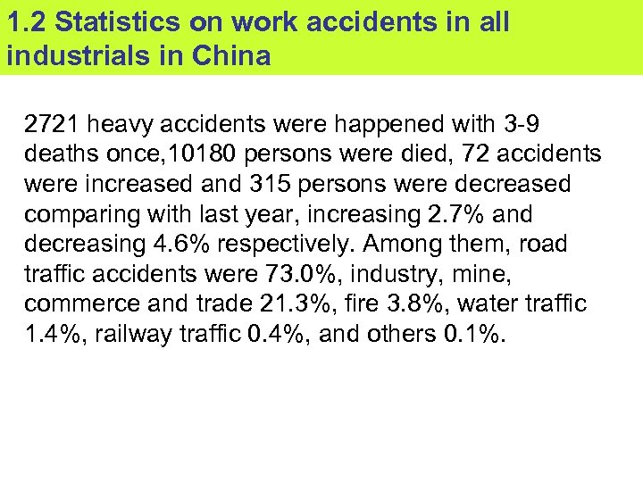 1. 2 Statistics on work accidents in all industrials in China 2721 heavy accidents