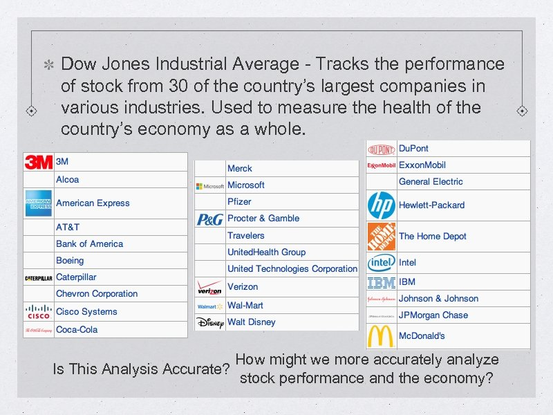 Dow Jones Industrial Average - Tracks the performance of stock from 30 of the