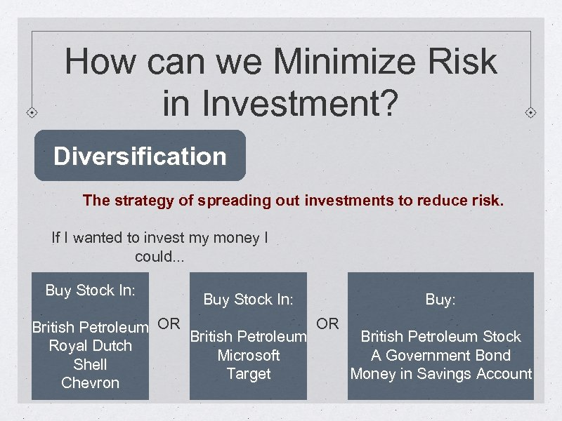 How can we Minimize Risk in Investment? Diversification The strategy of spreading out investments